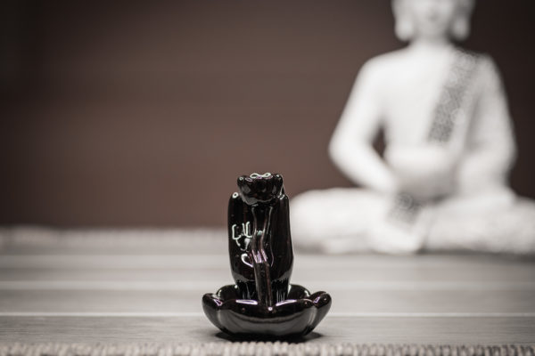 Incense Burner Hand and Lotus front view