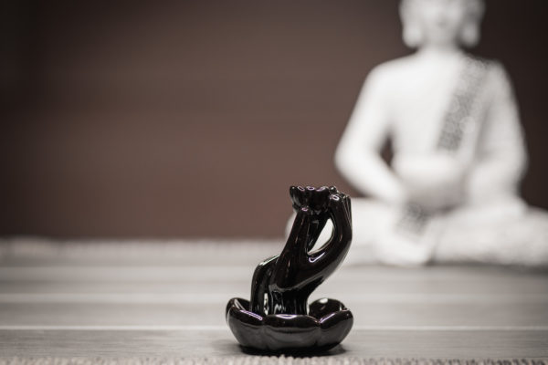 Incense Burner Hand and Lotus side view left