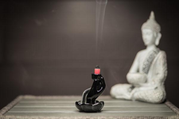 Incense Burner Hand and Lotus smoke side view left