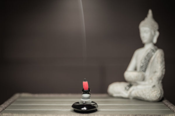Incense Burner Stone cascade smoke front view